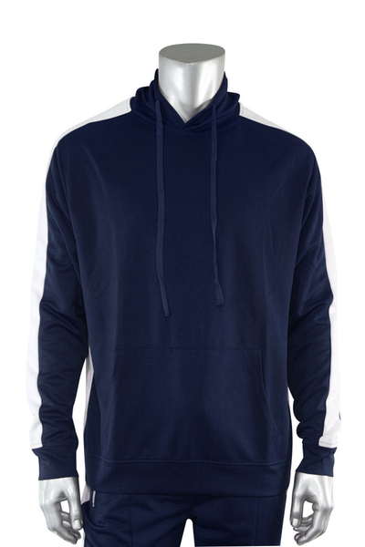 Premium Side Stripe Hoodie Navy - White (ZCM4419Z) - Zamage