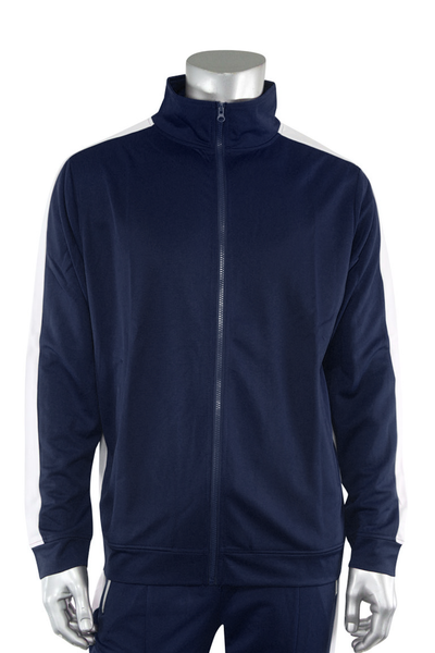 Premium Side Stripe Track Jacket Navy - White (ZCM4420Z) - Zamage