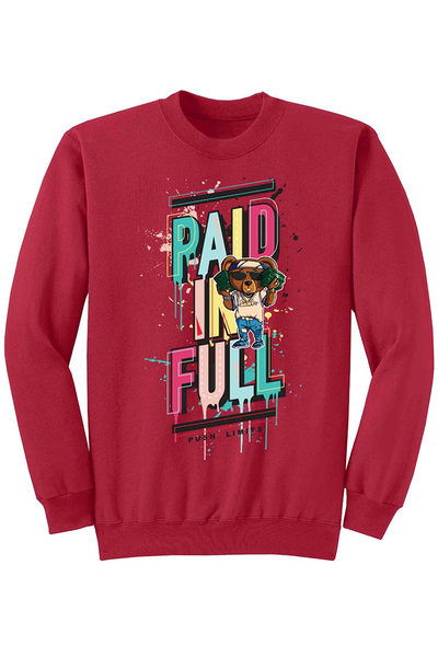 Paid In Full Fleece Crewneck Red (DS6026) - Zamage