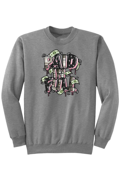 Paid In Full Plaid Fleece Crewneck Athletic Grey (DS6070)