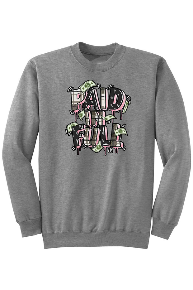 Paid In Full Plaid Fleece Crewneck Athletic Grey (DS6070) - Zamage