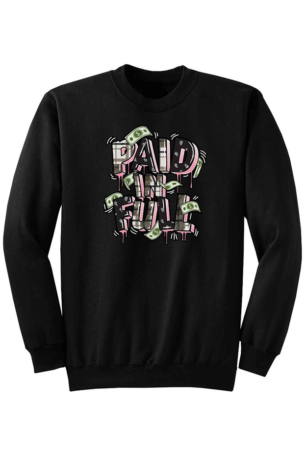 Paid In Full Plaid Fleece Crewneck Black (DS6070) - Zamage