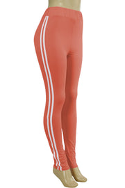 Side Stripe Leggings Peach - White (MADISON-84)