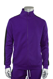 Solid One Stripe Track Jacket Purple - Black (100-501)