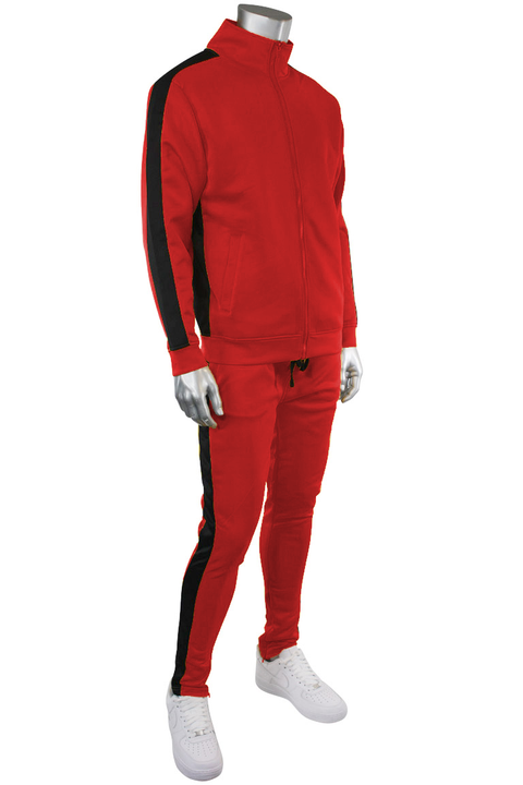 Solid One Stripe Track Pants Red - Black (100-401) - Zamage