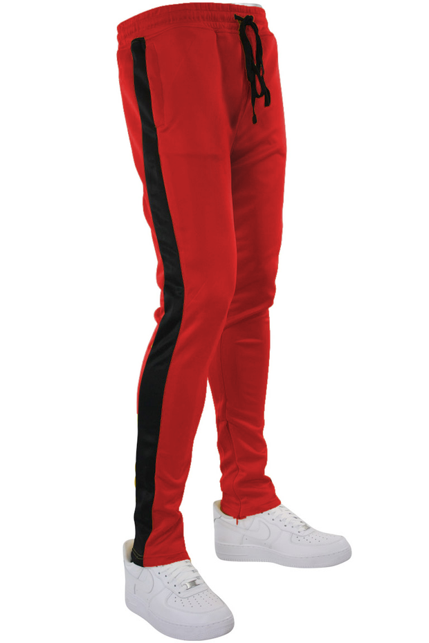 Solid One Stripe Track Pants Red - Black (100-401)