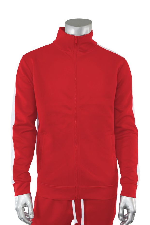 Solid One Stripe Track Jacket Red - White (100-501) - Zamage