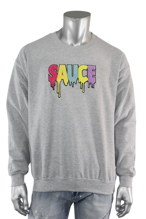 Embroidered Chenille Sauce Sweatshirt Heather Grey (9019CF)