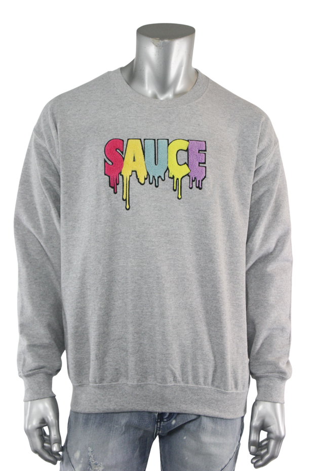 Embroidered Chenille Sauce Sweatshirt Heather Grey (9019CF) - Zamage