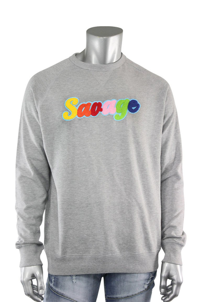 Embroidered Chenille Savage French Terry Crewneck Heather Grey (1001CF) - Zamage