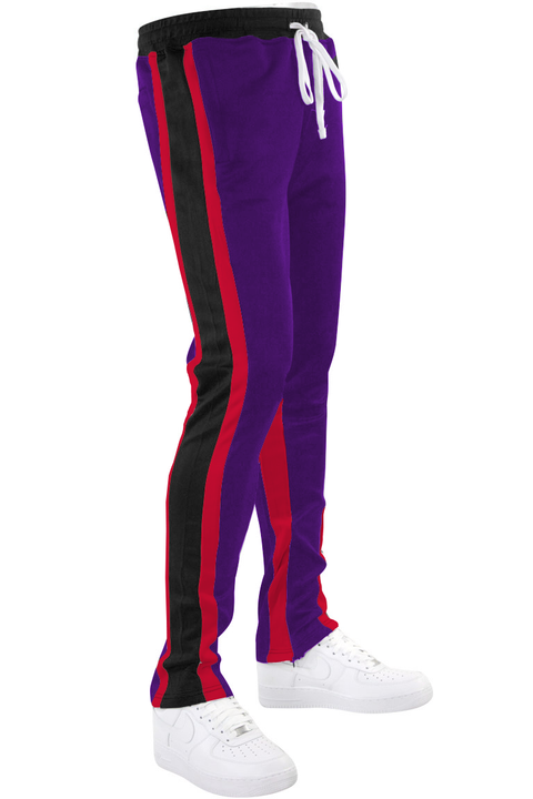 Shane Stripe Track Pants Purple (111-405) - Zamage