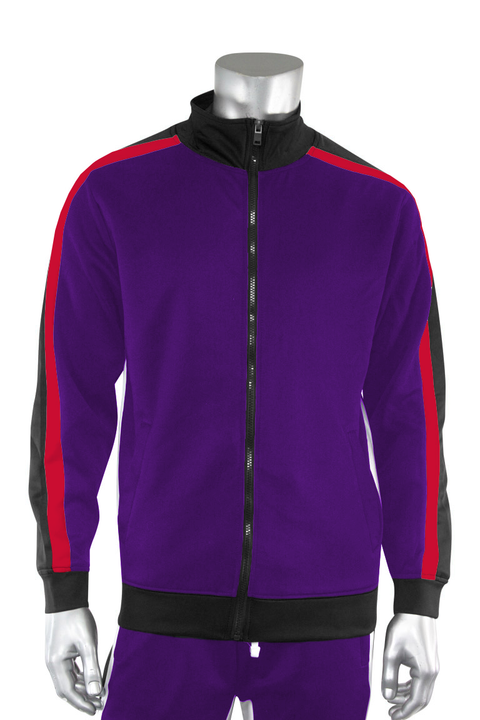 Shane Stripe Track Jacket Purple (111-505) - Zamage