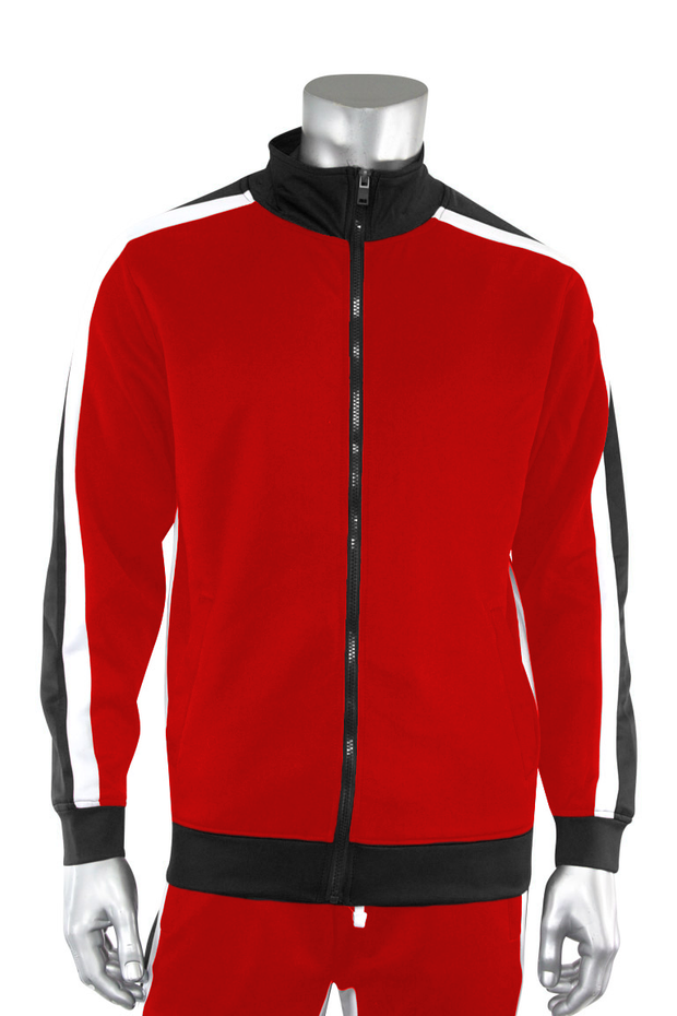 Shane Stripe Track Jacket Red (111-505) - Zamage