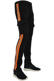Side Stripe Slim Fit Track Denim Black - Orange (M4446T)