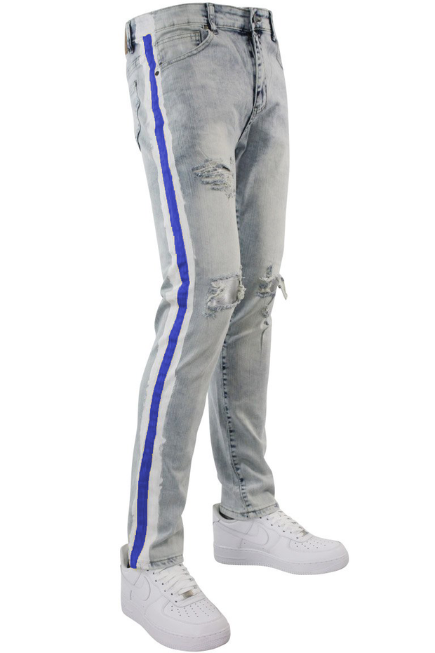 Side Paint Stripe Track Denim Snow - Blue (ZCM4700D) - Zamage