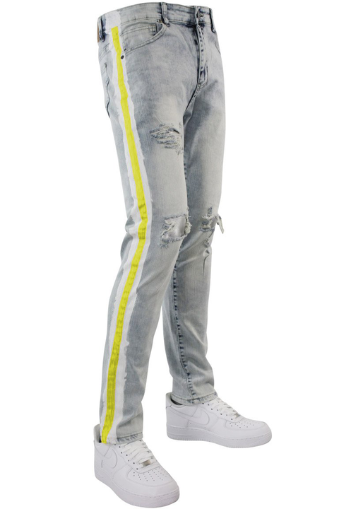 Side Paint Stripe Track Denim Snow - Gold (ZCM4700D) - Zamage