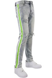 Side Paint Stripe Track Denim Snow - Green (ZCM4700D) - Zamage