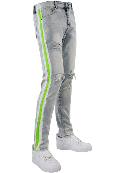 Side Paint Stripe Track Denim Snow - Green (ZCM4700D)