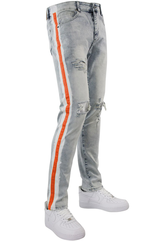 Side Paint Stripe Track Denim Snow - Orange (ZCM4700D) - Zamage