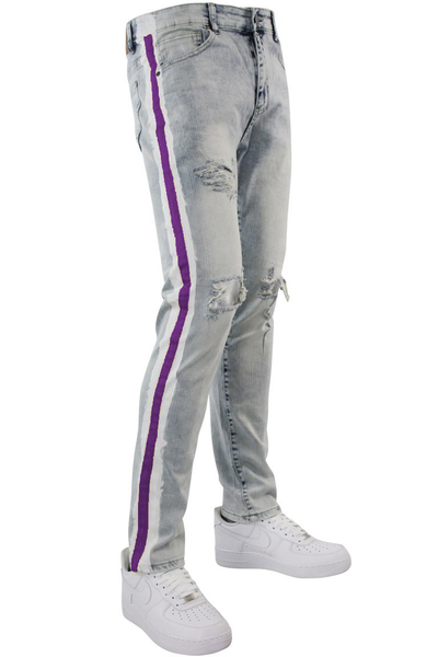 Side Paint Stripe Track Denim Snow - Purple (ZCM4700D) - Zamage