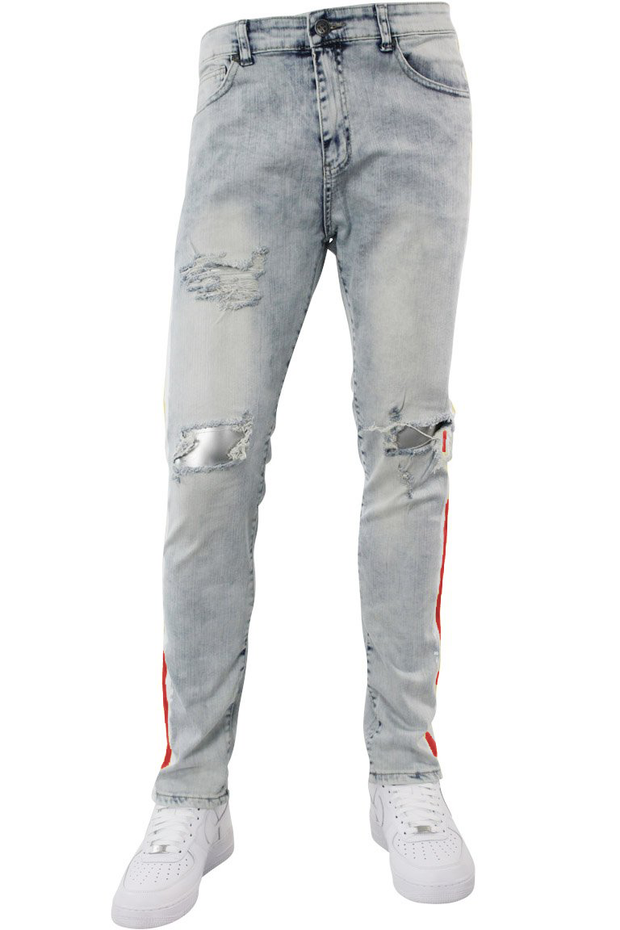 Side Paint Stripe Track Denim Snow - Red (ZCM4700D) - Zamage
