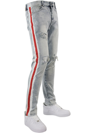 Side Paint Stripe Track Denim Snow - Red (ZCM4700D)