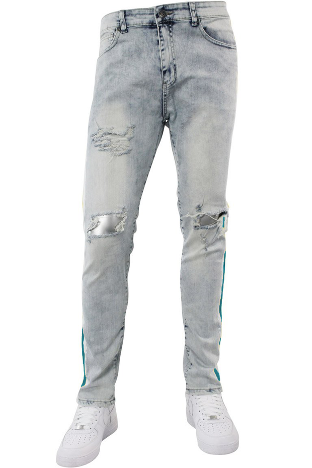 Side Paint Stripe Track Denim Snow - Teal (ZCM4700D) - Zamage