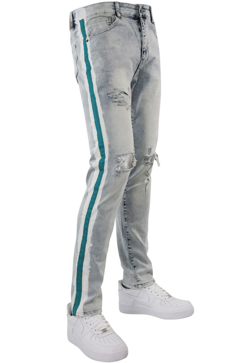 Side Paint Stripe Track Denim Snow - Teal (ZCM4700D)