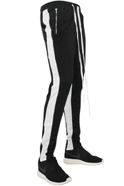 Zip Pocket Dual Stripe Track Pants Black - White (M4386PS)