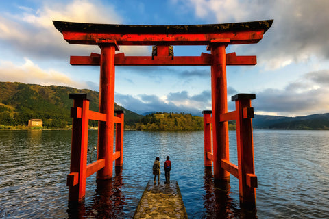 hakone japan travel arch red couple
