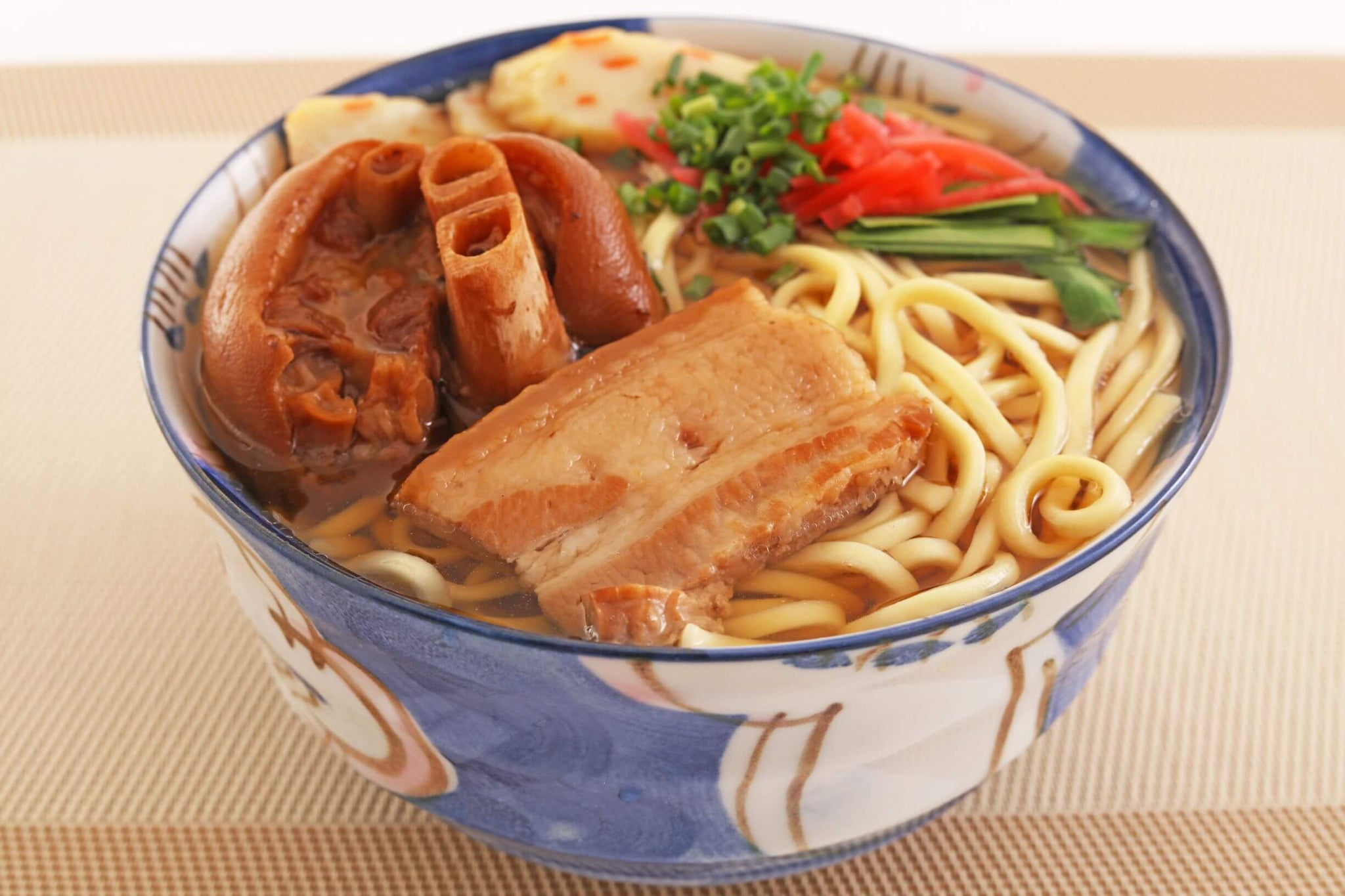 okinawa soba with thick noodles, pig trotter and pork belly