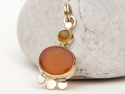 Chalcedony and Citrine in 14k Gold Pendant