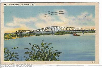 Ohio River Bridge-Marietta,Ohio 1946 - Cakcollectibles