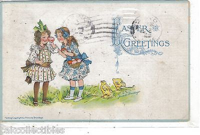 Easter Greetings-2 Girls with Basket of Eggs-Brundage 1915 - Cakcollectibles - 1