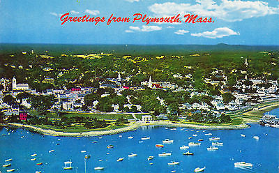 Greetings From Plymouth Massachusetts Postcard - Cakcollectibles