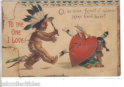 """To The One I Love""-Valentine Post Card-Indian Children-Clapsaddle 1909 - Cakcollectibles - 1"
