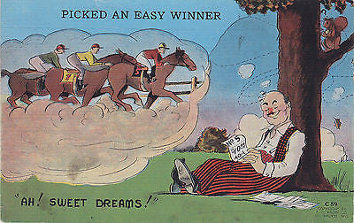 """Ah ! Sweet Dreams"" Linen Comic Postcard - Cakcollectibles - 1"