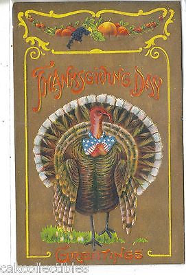 Thanksgiving Post Card-Turkey with Red,White and Blue Bow Tie - Cakcollectibles - 1