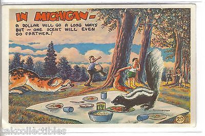 """In Michigan""-Skunk Comic Post Card - Cakcollectibles"