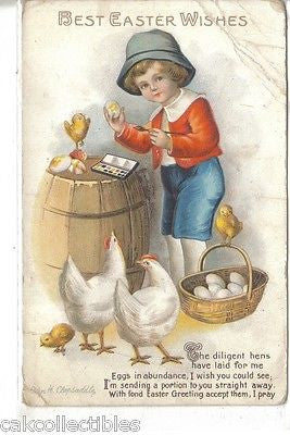 Best Easter Wishes-Boy Painting Eggs-Clapsaddle - Cakcollectibles - 1