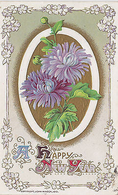 A Happy New Year Floral Jon Winsch Postcard - Cakcollectibles