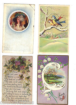 Lot of 4 Antique Greetings Post Cards-Lot 11 - Cakcollectibles - 1