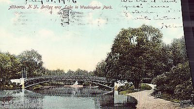 Bridge over Lake in Washington Park-Albany,New York 1906 - Cakcollectibles