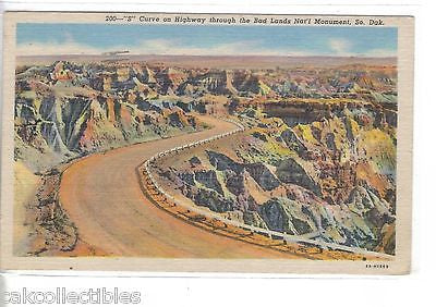 """S"" Curve on Highway through the Bad Lands National Monument-South Dakota 1956 - Cakcollectibles"