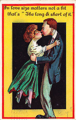 In Love Size Matters Not A Bit Comic Postcard - Cakcollectibles