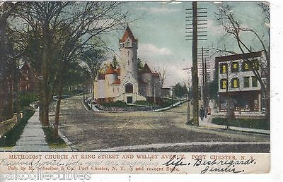 Methodist Church at King Street and Willet Avenue-Port Chester,New York 1908 - Cakcollectibles