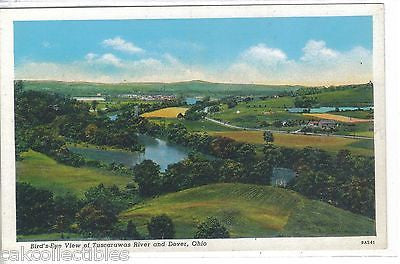 Bird's-Eye View of Tuscarawas River and Dover,Ohio - Cakcollectibles