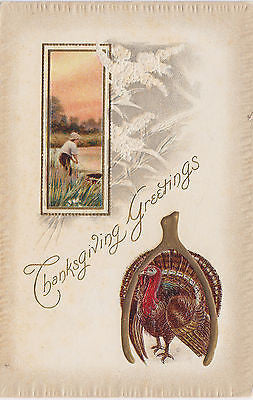 Thanksgiving Greetings Turkey Man Fishing Postcard - Cakcollectibles - 1