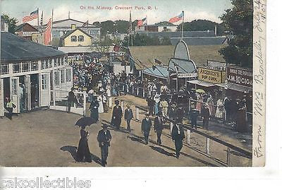 On The Midway-Crescent Park,Rhode Island 1907 - Cakcollectibles - 1