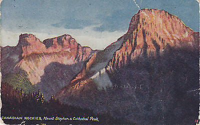 Canadian Rockies - Mount Stephen & Cathedral Peak Postcard - Cakcollectibles - 1